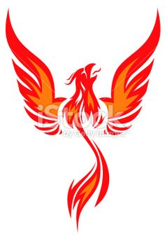 silhouette flaming Phoenix simplified picture with raised wings