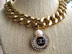 Chanel Logo Vintage Button 18K Gold Plated Curb by CelebrityTrendz, $131.00
