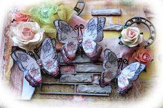 Butterfly Set - English Rose Garden Butterflies Scrapbook Embellishment Tag Card…
