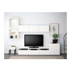 BESTÅ Tv-kalustekokonaisuus/vitriiniovet, valkoinen, Selsviken korkeakiilto valkoinen/kirkas lasi - 300x20/40x211 cm - valkoinen/Selsviken korkeakiilto valkoinen/kirkas lasi - liukukisko, pehmeästi sulkeutuva - IKEA