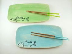 Rectangle Fish Plate by elizabethpottery on Etsy, $22.00