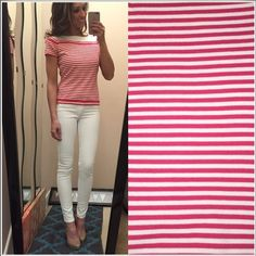 Talbots Spring/Summer sweater Hot pink/white short sleeved sweater from Talbots Petites. Perfect condition. Size P (fits XS) Talbots Sweaters Crew & Scoop Necks
