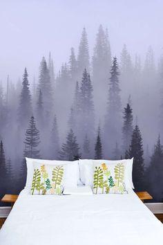 Nadelwald im Nebel - Grautöne