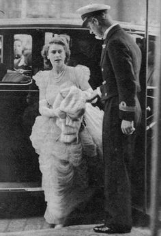 """theroyalhistory: """"Princess Elizabeth (Queen Elizabeth II) and her fiance Prince Philip arrive at the Caledonian Hotel to dine with the Duchess of Buccleuch before the Scottish Association of Girls' Clubs ball, July 1947 """" Same day, dancing at the."""