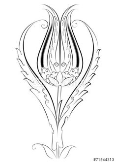 """Vector Tile Created by Motif Tulip Pattern """"E . Vector Tile Created by Motif Tulip Pattern """"E . Turkish Design, Turkish Art, Pattern Art, Pattern Design, Vector Pattern, Arabesque, Outline Drawings, Stock Image, Ceramic Painting"""