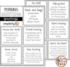 Morning meeting greetings activities teaching ideas morning meeting greeting ideas m4hsunfo