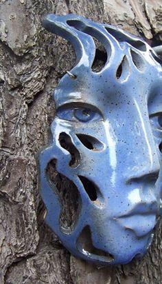 Blue Raindrop Face/ Wall Art Hanging Ceramic Mask With Cut Out Design. Ceramic Mask, Ceramic Wall Art, Ceramic Clay, Slab Pottery, Ceramic Pottery, Pottery Art, Pottery Sculpture, Sculpture Clay, Ceramic Figures