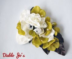 Cascade Hair flower with Pearls, Vintage style, Pin Up, Alternative, Rockabilly by DiabloJos on Etsy