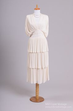 1970 Matte Jersey Vintage Wedding Dress