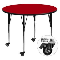 Flash Furniture Mobile 42 diam. in. Round Activity Table with Standard Adjustable Legs - XU-A42-RND-RED-T-A-CAS-GG