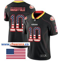 9fafbcb60 Nike San Francisco 49ers #10 Jimmy Garoppolo Black Men's Stitched NFL  Limited Rush USA Flag Jersey