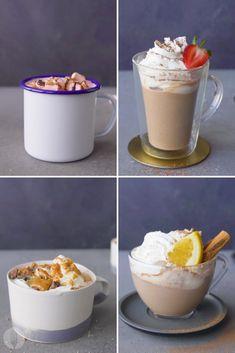 Super Simple Aero Hot Chocolate 4 Ways Chocolate Flavors, Hot Chocolate, Milo Recipe, Peppermint Crisp, Christmas Drinks, Winter Warmers, Non Alcoholic, Summer Drinks, Diy Food