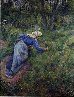 Peasant Gathering Grass: 1881 by Camille Pissarro (Private Collection - cannot find current location) - Impressionism Paul Cezanne, Claude Monet, Camille Pissarro Paintings, Gustave Courbet, Impressionist Artists, Pierre Auguste Renoir, Edouard Manet, French Artists, Art Plastique