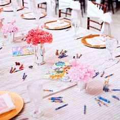 This is such a fun idea! Instead of seating children with their parents give them their very own table with non-breakable centerpiece and fun items like coloring books and crayons!