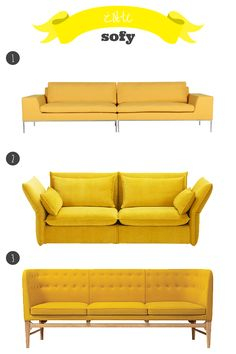 żółta sofa // yellow sofa Yellow Sofa, Love Seat, Couch, Furniture, Home Decor, Drawing Rooms, Yellow Couch, Settee, Sofa