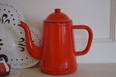 Rood emaille koffiepot