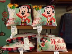 Christmas pillows 2014, Disney Christmas, Mickey Mouse pillows