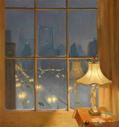 Scene from My Window-Night - Huguette Clark American 1906-2011