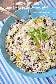 This recipe for Southwestern Rice with Black Beans and Zucchini makes a great addition to any barbecue or even makes a great main dish! Vegan Side Dishes, Main Dishes, Black Rice, Black Beans, Fried Rice, Lettuce, Barbecue, Zucchini, Veggies
