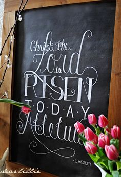 The Lord is Risen! Christian Easter Chalkboard Art - by Dear Lillie Chalkboard Designs, Chalkboard Art, Kitchen Chalkboard, Positive Energie, Resurrection Day, Dear Lillie, Easter Parade, Easter 2020, Easter Celebration