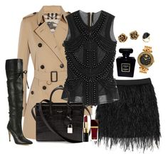"""""""Black chic"""" by anchilly23 ❤ liked on Polyvore featuring Burberry, Mason by Michelle Mason, Balmain, Manolo Blahnik, Yves Saint Laurent, Versace, Effy Jewelry, Tiffany & Co., Chanel and Bobbi Brown Cosmetics"""