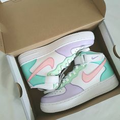 Nike Air Force Mid ' Icecream ' by sneakuniq All Nike Shoes, Nike Shoes Air Force, Hype Shoes, Nike Shoes For Women, Nike Air Force Ones, Jordan Shoes Girls, Girls Shoes, Cool Shoes For Girls, Air Force Mid