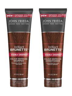 b06716939 John Frieda Brilliant Brunette Visibly Deeper Colour Deepening Shampoo and  Conditioner | allure.com #