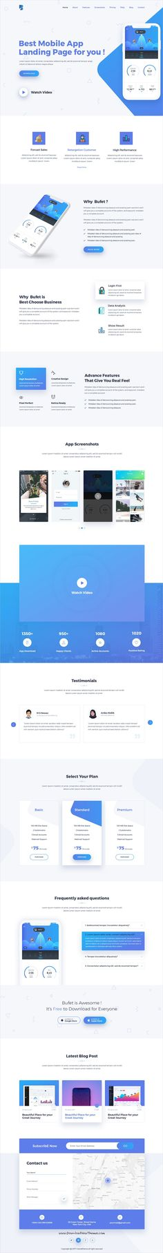 Bufet is clean and modern design #PSD template for app, #SaaS and software #landingpage website with 13 layered PSD pages to live preview & download click on Visit