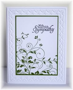 """By Becky (who CASE'd it from someone else). I just finished making 24 of these. Each takes less than 10 minutes to make. Uses the Hero Arts """"Leafy Vines"""" stamp and the SU-Sizzix tulip border embossing folder."""
