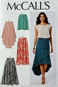 Items similar to Sewing Pattern Woman's Elastic Waist Skirt Pattern, Mock Wrap Skirt Pattern, High Low Skirt Pattern, McCall's Sewing Pattern 7363 on Etsy Skirt Pattern Free, Mccalls Sewing Patterns, Clothing Patterns, Dress Patterns, Diy Clothing, Hi Low Skirts, Circle Skirts, Long Skirts, Diys