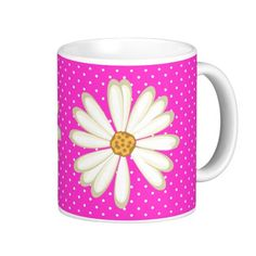 Cool Polka Dot Pattern Modern Daisy Flower Mug White Coffee Mugs, Custom Mugs, Coffee Travel, Classic White, Baby Gifts, New Baby Products, Tea Cups, Daisy, Polka Dots