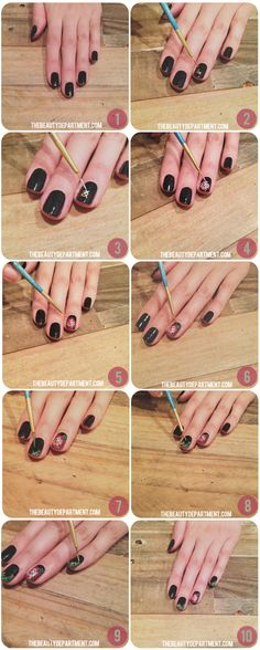 In case you missed it-- here are the steps for the cross stitch nails.