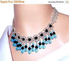 Beaded crystal bib necklace, chainmaille necklace, chain mail necklace, black and blue necklace, statement necklace, collar necklace, gift