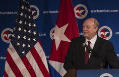 Rodrigo Malmierca habla a los miembros de la Cámara de Comercio de Estados Unidos, en Washington. Foto: Ismael Francisco/ Cubadebate