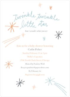 Twinkle, Little Star Baby Shower Invitations