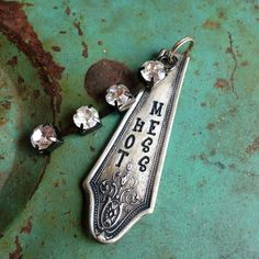 Stamped Vintage Upcycled Spoon Fork Jewelry Pendant - Aged - Hot Mess - Wire Tied Bead Charms by JuLieSJuNQueTiQue on Etsy