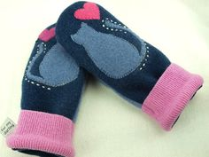 Cat Mittens from Felted Sweater Dark Blue Violet by ForMyDarling, $36.00