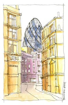Swiss Re Tower London, England Architectural sketch in watercolor - Kenneth Wong