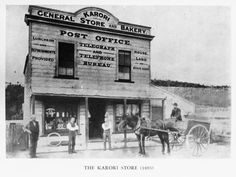 Men standing with a horse and cart outside Karori Store, Karori. Taken by an unidentified photographer in Karori Post Office Store. Fire Hall, Pioneer Life, Heritage Foundation, The Settlers, Doctor Office, General Store, Post Office, Old Photos, New Zealand