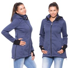 Viva la Mama | Brand New! The Softshell baby carrying jacket BOSCO (water-repellent, windproof, steel-blue) has the baby wearing options in front of your body or on the back. It is your perfect outdoor jacket for pregnancy, maternity, baby wearing and everyday use. Mommy and baby are protected from rain, wind and cold. Ideal companion for outdoor and mountain moms! :)