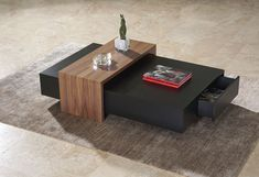 Contemporary lacquered coffee table CUBE Contemporary lacquered coffee table with two drawers and an extra side table Dimensions: 130cm x 80cm , 110cm x 110cm , Height 35cm Material: Oak , Laquared , Walnut