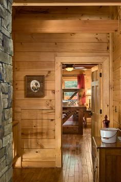 Interior, vertical, looking into upper level guest bedroom from hallway, Daniel residence, Moss, Tennessee; Honest Abe Log Homes