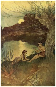 "Illustration by Edmund Dulac. The Tempest. Shakespeare. Hodder & Stoughton, London, 1908. ""CALIBAN -- Be not afeard; the isle is full of noises, / Sounds and sweet airs, that give delight and hurt not. / Sometimes a thousand twangling instruments / Will hum about mine ears, and sometime voices / That, if I then had waked after long sleep, / Will make me sleep again: and then, in dreaming, / The clouds methought would open and show riches / Ready to drop upon me that, when I waked,..."""