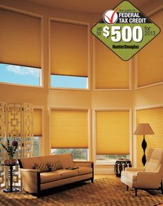 Limited time $500 Federal Tax Credit opportunity on qualifying purchases of certain Duette® Architella® Honeycomb Shades for the ultimate in energy-efficient style and savings. ♦ Hunter Douglas Window Treatments #livingroom