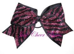 Pink Zebra Rhinestone Cheer Bow