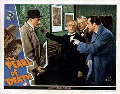 The Pearl (White) Of Death From Left Dennis Hoey Holmes Herbert Nigel Bruce Basil Rathbone 1944 Movie Poster Masterprint (28 x 22)