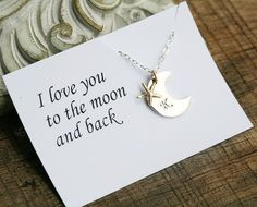 Moon star necklace,I love to the moon and back necklace,Personalized moon initial charm,anniversary,couple