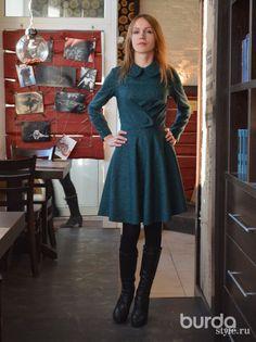Burda Style Vintage Bouclé Dress (12/2012 #141) VARIATION (note the fullish skirt and peter pan collar).