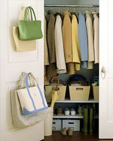 Need to do this for the Coat Closet. Bring Order to the Hall Closet Take storage to new levels with shelves below a row of jackets. Install shelves near the base of your closet, and you'll no longer Organisation Hacks, Coat Closet Organization, Closet Storage, Office Organization, Closet Shelves, Closet Doors, Low Shelves, Door Storage, Shelving