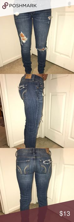 Jeans Ripped Hollister jeans. Low rise. Skinny. Long. (Size 5L; W 27, L 33) Hollister Jeans Skinny